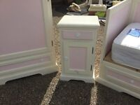 Solid wood painted bedside table. Part of a matching set.