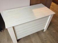 Pine Storage Chest painted pale white