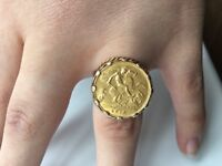 1910 9ct sovereign ring mount.