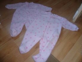 2 x Girls fleecy sleepsuits 3-6 months