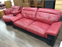 RED/BLACK FULL LEATHER 3 SEATER SOFA + SWIVEL CHAIR