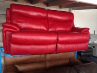 NEW/EX DISPLAY LazBoy Red Leather Electric Recliner 3 Seater