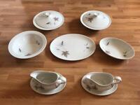 Royal Doulton Tumbling Leaves Dining Set Vegetable Dish, Sauce Boat, Oval Dish, Oval Bowl