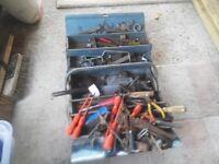 Metal toolbox with various tools