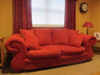 Red Sofa and matching arm chair