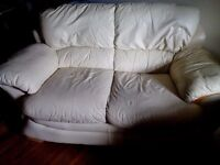 Second hand cream sofa- collection only £60. Real leather wooden accents