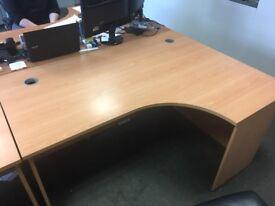 3x Matching Desks - Beech Effect, Large, Radial