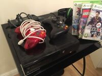 Xbox 360 with 5 popular games, 2 Controllers, and Xbox mic
