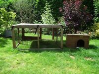 Large 2 Storey Hutch for 2 Guinea Pigs or 1 Rabbit with Outdoor Run and Accessories