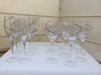 19 matching wine glasses