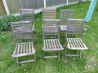 6 Folding Solid Wood Garden Chairs