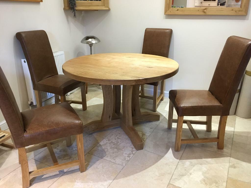 Round Oak Dining Table And 4 Chairs In Sherborne Dorset Gumtree