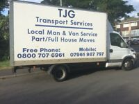 man and van services and house removals and storage