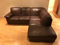 Luxury brown leather corner sofa
