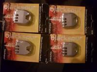 4 PACK OF BLACKSPUR 30MM COMBINATION PADLOCK
