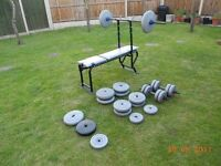 Weights Bench with 85.75kg, bars and collars