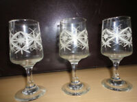Three Small Wine / Sherry Glasses With Very Attractive Etched Design