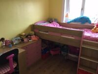 Mid Sleeper Cabin Bed With Storage & Desk - Oak & White Pink
