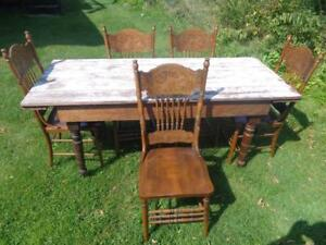 ANTIQUE PRESS BACK CHAIRS + HARVEST TABLE 6 FEET LONG