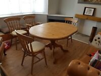 Table and 4 chairs Solid Pine wood