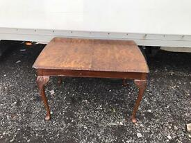 Vintage walnut Queen Anne dining table