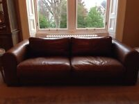 Sforza- large brown leather sofa