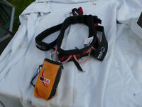 Climbing harness, chalk pouch and 2 carabiners