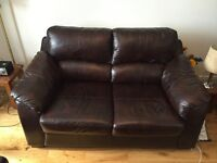 Brown leather sofa, armchair & footstool, good condition