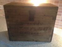 Fabulous Old Rustic Pine Box, Vintage Wooden Chest Storage Trunk