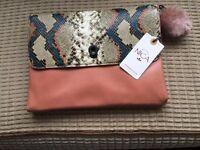 Genuine Nica ladies clutch bag with fur pom pom as new