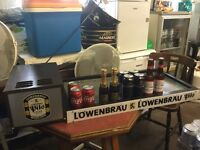 Vintage bar memorabilia. Lowenbrau working bar/table top cooler/refrigerator.