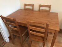 Jokkmokk dining table and 4 chairs