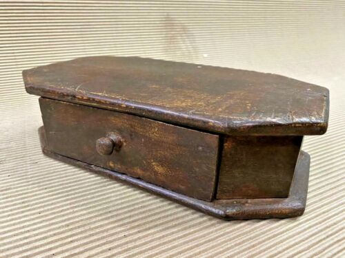 OLD VINTAGE RARE HANDMADE STATUE / FIGURE WOODEN BOX STAND BASE,CHEST DRAWER