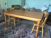 Large Solid Antique Pine Table Chairs have now been sold L59in/150cm/W35.5in/90cm/H29.5in/75cm
