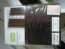 Faux brown curtains, bnip.