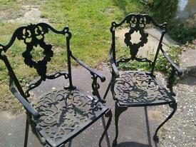 Cast iron Table with 2 chairs