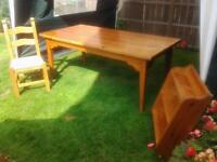 Solid pine dining table 3 shelf pine wall unit