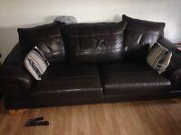 Chocolate brown leather sofa John Lewis