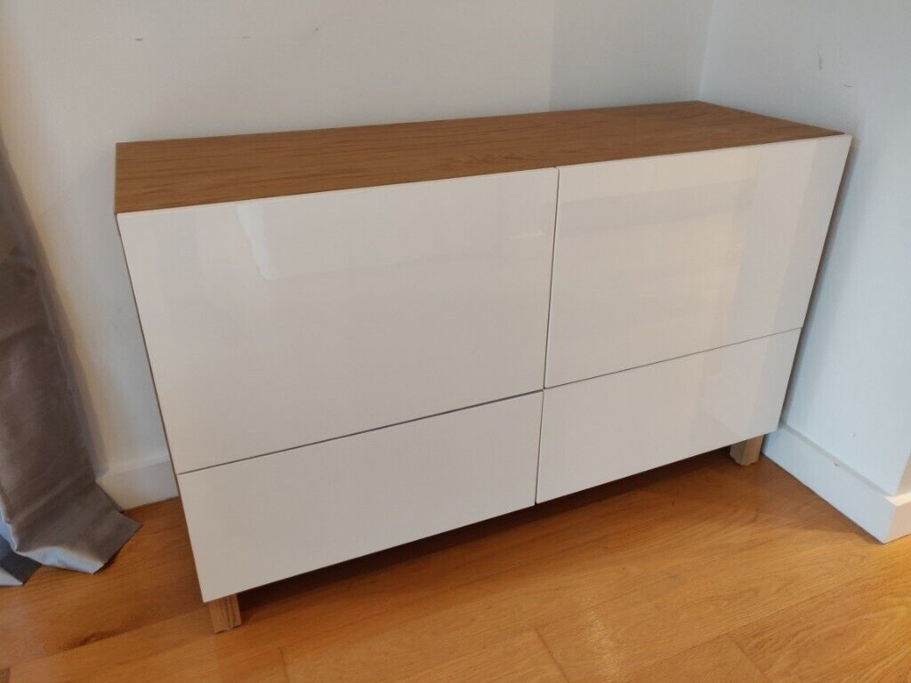 Ikea Besta Sideboard Oak Effect With High Gloss White Doors And Drawers Brand New In Battersea London Gumtree