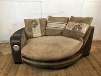 Large Cream and Brown Snuggle Cuddle Round Armchair with In Built Speaker