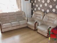 leather settee and 2 arm chairs expensive when new used now