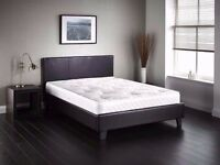 **LIMITED OFFER**50% OFF-- Double Leather Bed Frame With SEMI Orthopaedic Mattress--SAME DAY DROP
