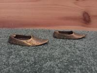 Vintage Miniature Brass Shoe Ash Tray Pair