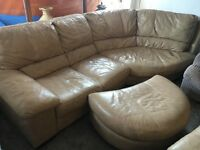 STUNNING L SHAPE IN REAL LEATHER SOFA SET +2 SEATER+FOOTSTOOL