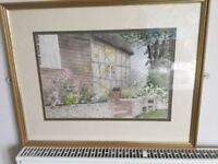 Original Framed/Glazed Watercolour by local artist Patricia M Howles - Clergy House Garden Alfriston
