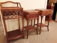 Conservatory furniture cane side tables or lamp tables