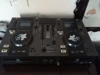 Dj pro twin disc mixing decks with anti shock seamless loop mp3 with speakers