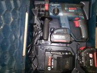 bosch drill gbh 18 v-li professional x2 2.6 ah batts + quick charger
