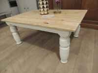 Pine coffee table in shabby chic style