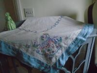 vintage hand embrodiered table cloth
